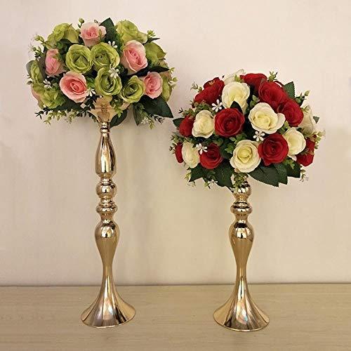 KKRIIS Silber/Gold Metall Kerzenhalter Eisen Kerzenständer Hochzeit Requisiten Straße Führen Vase Dekoration, 50 cm goldene -