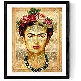 Nacnic Lámina Frida Kahlo con la definición de Creatividad y con Fondo marrón.