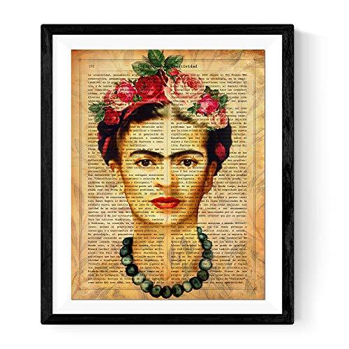 Nacnic Frida Kahlo Blatt mit der Definition von Kreativität und braunen Hintergrund. A3-Format. Frameless