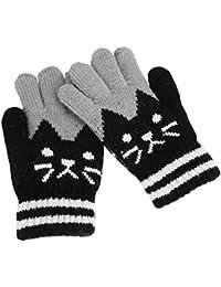 Gants Hiver Automne Chaud Mitaines Plein-doigts Tricot Moufles Extérieur  Doublure Cachemire Thermique Chaton Imprimé 2415cddedc8