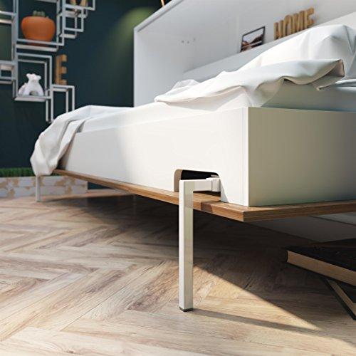 SMARTBett Basic 90×200 Horizontal Weiss/Nussbaum Schrankbett | ausklappbares Wandbett, ideal geeignet als Wandklappbett fürs Gästezimmer, Büro, Wohnzimmer, Schlafzimmer - 5
