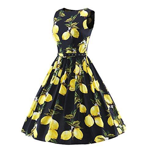 ILover Classique Vintage années 50 's Floral Style Audrey Rockabilly Swing robe de fête de pique-nique Noir