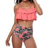 Wenyujh Damen Vintage Bikini Set Blumenmuster Bademode Hohe Taille Bauchweg Badeanzug Volant Neckholder Rückenfrei Badebekleidung Beachwear Gepolstert Push Up Swimwear Wassersport