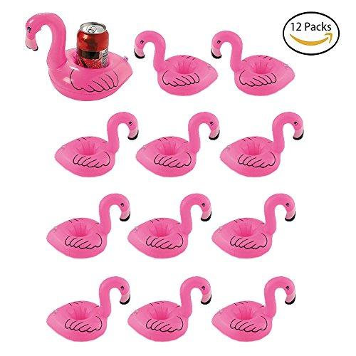 Happyx 12 pezzi porta bicchieri gonfiabile fenicottero portabibite portabottiglie per festa piscina mare
