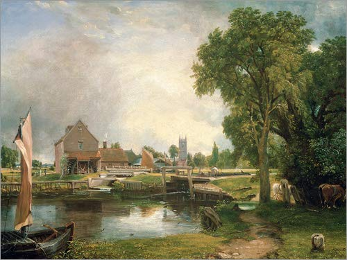 Posterlounge Tableau en Aluminium 160 x 120 cm: Dedham Lock and Mill de John Constable/Bridgeman Images