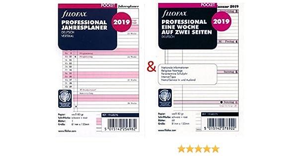filofax Kalendereinlage 2020 Pocket 81 x 120mm 1 Woche auf 2 Seiten 19-68275