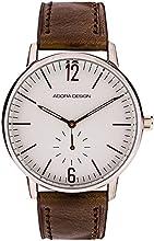 Comprar Reloj De Hombre Reloj de pulsera analógico reloj acero inoxidable reloj plateado con pulsera de piel marrón Adora Diseño 28455