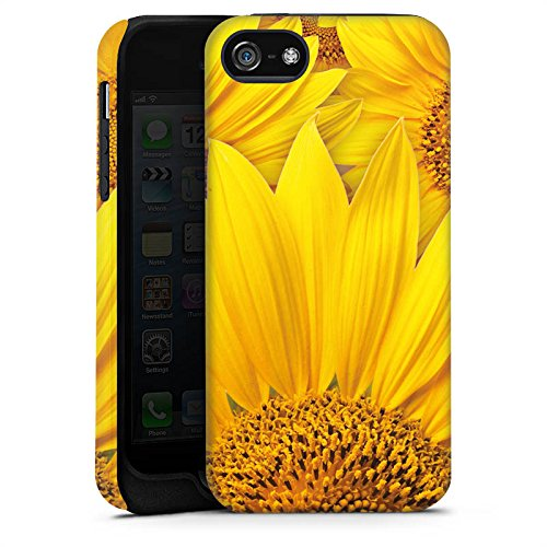 Apple iPhone 5s Housse Étui Protection Coque Tournesols Fleur Jaune Cas Tough terne