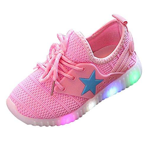 chen und Jungen Kleinkind Mode Stern Leuchtendes Kind Bunte Helle Schuhe Kinder Schuhe mit Licht LED Leuchtende Blinkende Turnschuhe für Kinder (35, Rosa) (Schuh-schnürsenkel-lichter)