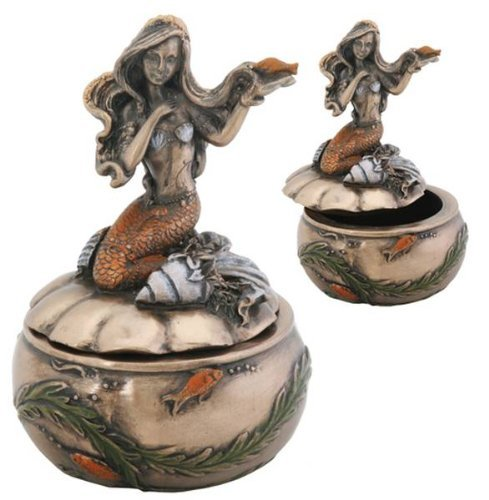 YTC Summit International Art Nouveau Mermaid Ariel Laying on Seashell Jewelry Trinket Box Container New (Container Ariel)