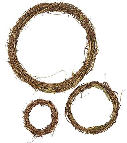 Juvale Grapevine Kranz-Set, 3-Teilig-Vine AST Kranz, Dekorativer Holz Zweig für Craft, Dekor, Tür, Haus, Urlaub-3Größen, groß, Mittel, Klein