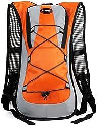 SHTH - Mochila de hidratación (5 l, resistente al agua, ideal para ciclismo, equitación, montañismo, 45,5x 22,5x 5cm), color naranja, tamaño 45,5x22,5x5cm(H x B x D)