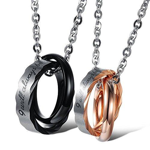 Konov gioielli 2 collana con pendente da uomo donna, ciondolo amanti, catenina 45cm & 55cm, san valentino regali coppia per lui & lei, amore anelli, acciaio inossidabile, oro nero argento