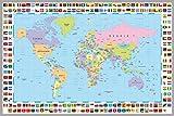 Postereck - 0609 - Politische Weltkarte mit Flaggen - Poster Größe 4:3-61.0 cm x 45.5 cm