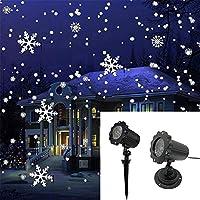 06088b7b6a9 zeonetak Nieve Caso LED luces Navidad lámpara de luz giratoria Copo de nieve  con mando a distancia inalámbrico vacaciones y Fiesta Indoor Outdoor ...