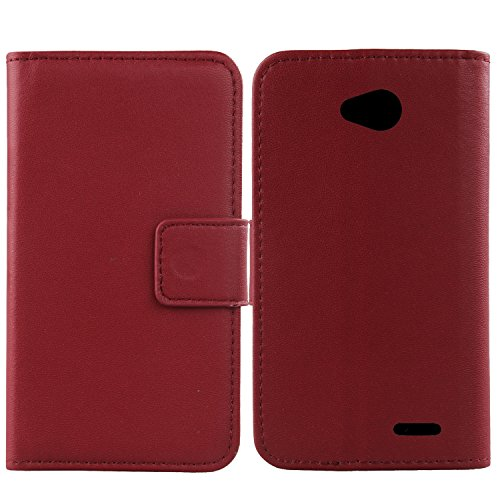 Gukas Design Genuino Cuero Case para LG L65 D280N / L70 D320N Flip Billetera Funda Carcasa De Lujo Autentico Ranuras Tarjetas Piel Premium Cover (Rojo Oscuro)