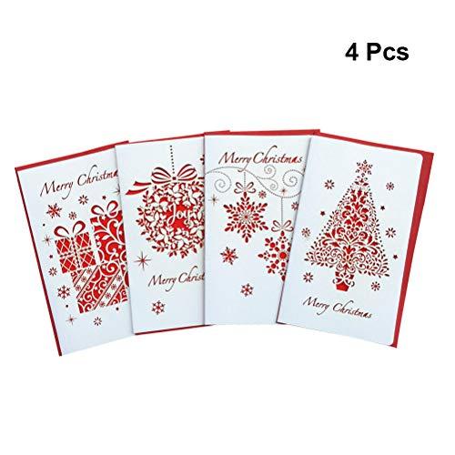 Healifty 4pcs natale vacanza biglietto d' auguri creative hollow out christmas cute benedizione regalo di natale cartolina di auguri per natale festival