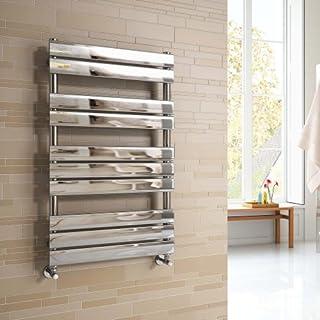 iBathUK | 1000 x 600 mm Chrome Designer Flat Panel Heated Towel Rail Radiator