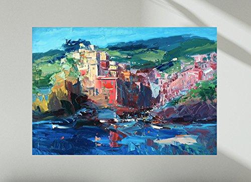 Riomaggiore Cinque Terre Wall Art Prints Impressionist Modern Canvas and  Paper Seascape Artwork Ligurian Sea Home Decor Living Room Christmas Gifts