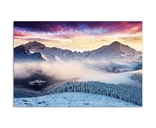 120x80cm - WANDBILD Alpen Berge Schnee Nebel Abendrot - Leinwandbild auf Keilrahmen modern stilvoll - Bilder und Dekoration (Schnee Berg Bilder)