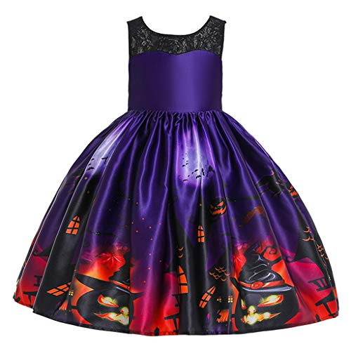 Honestyi Kleinkind Kinder Mädchen Cartoon Prinzessin Pageant Kleid Halloween Party Brautkleid (24M 9T) Karikatur Kürbis Druck Spitze Tutu Dress der