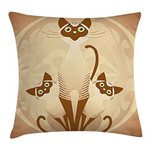 Mesllings Kissenbezug, Tiermotiv, DREI Katzen, Katzen, asiatische Siames-Kätzchen, mit Efeu-Hintergrund, dekorativer quadratischer Akzent-Kissenbezug, 45,7 x 45,7 cm, Hellbraun und Hellbraun -