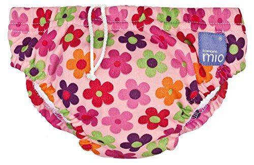 Bambinomio Schwimmwindel Medium pink mit Blumen