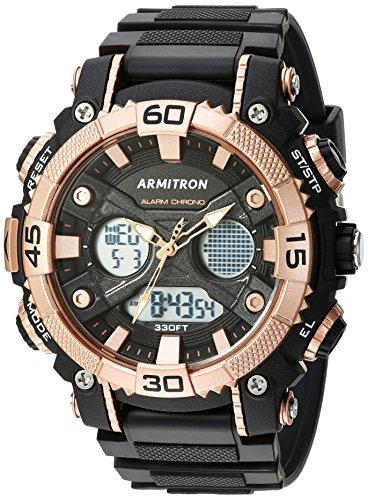 Armitron Sport Herren 20/5108brg Analog-Digital Chronograph Rose goldfarbene und schwarz Harz Gurt Uhr