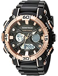 Armitron 20/5108brg del deporte hombres Digital Cronógrafo Rose Gold-tone y negro correa