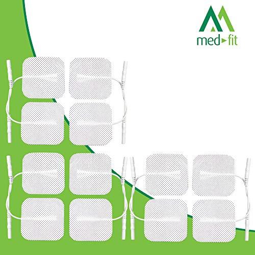 Med-Fit Almohadillas de electrodos autoadhesivos TENS / EMS. 12 tens electroestimulador parches de electrodos hipoalergénicos de larguísima duración de la más alta calidad. 5cm x 5cm, compatibles con prácticamente todos los modelos de estimuladores TENS y EMS.