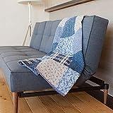 """SLPR Copertina trapuntata """"Blue Symphony"""" in cotone con vero patchwork (127cm x 152cm)   Trapunta decorativa per letto e divano"""