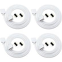 Liwinting 4piezas 4pin el Cable de extensión Flexible del RGB del 1m Conecta el Enchufe Femenino a la luz de Tira de SMD 5050 3528 2835 RGB LED,con el ...