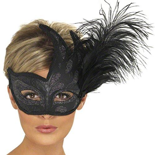 Venezianische Maske mit Feder Augenmaske Schwarz Ballmaske Venedigmaske Federmaske Maskenball - Venezianische Augenmaske