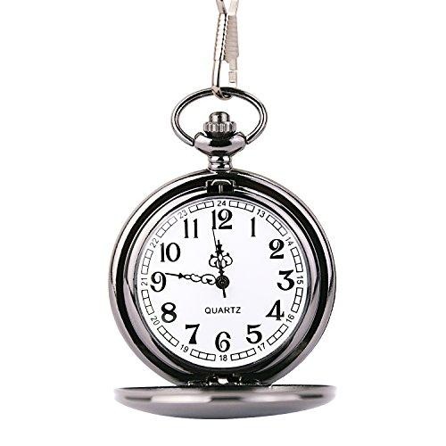 Cuitan Unisex Retro Taschenuhr mit etwa 37,5cm Halskette Kette, Polierte Oberfläche Zeiger Arabische Ziffern Quarzwerk Kettenuhr Umhängeuhr Pocket Watch für Herren und Damen - Schwarz Wolf Halskette Für Männer
