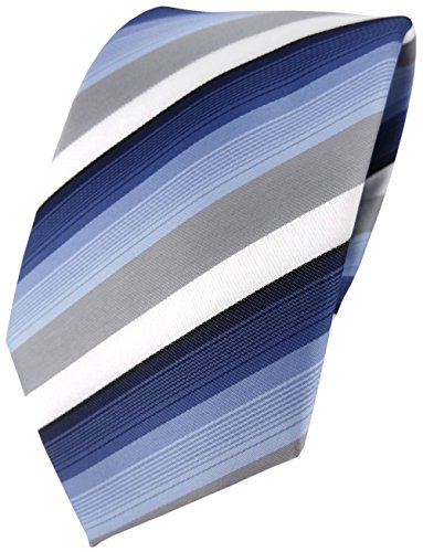 Blau Gestreiften Krawatte (TigerTie Designer Krawatte in blau dunkelblau grau weiss gestreift - Tie Binder)
