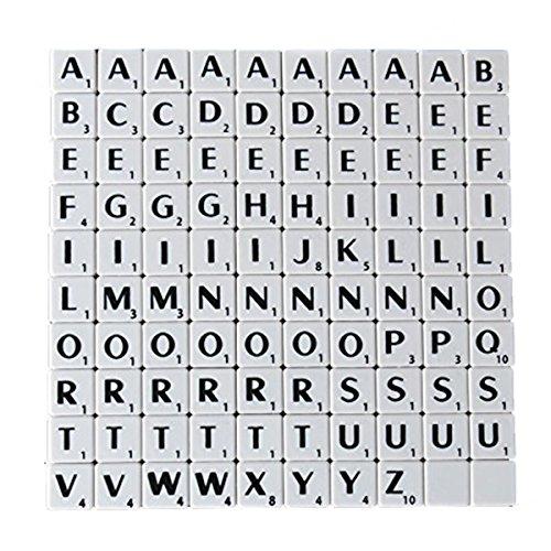 n Shop 1001,9cm-Zeichensätze Fliesen Schwarz mit Weißen Buchstaben-Perfekt für Ersatz, Arts & Craft, Board Games, Scrapbooking, Buchstabieren, Wand-Kunst, Rätsel Weiß ()