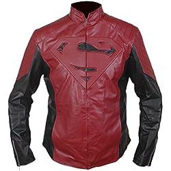 Leatherly Chaqueta de hombre Superman Man of Steel Maroon Negro Cuero Chaqueta- S