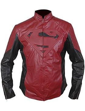 Leatherly Chaqueta de hombre Superman Maroon Negro Sintético Cuero Chaqueta