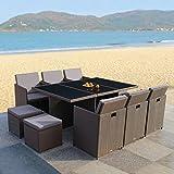 RedNeck Gartenmöbel Set 6er Sitzgruppe Dining Lounge braun Polyrattan Alu mit Schwarzglasplatte