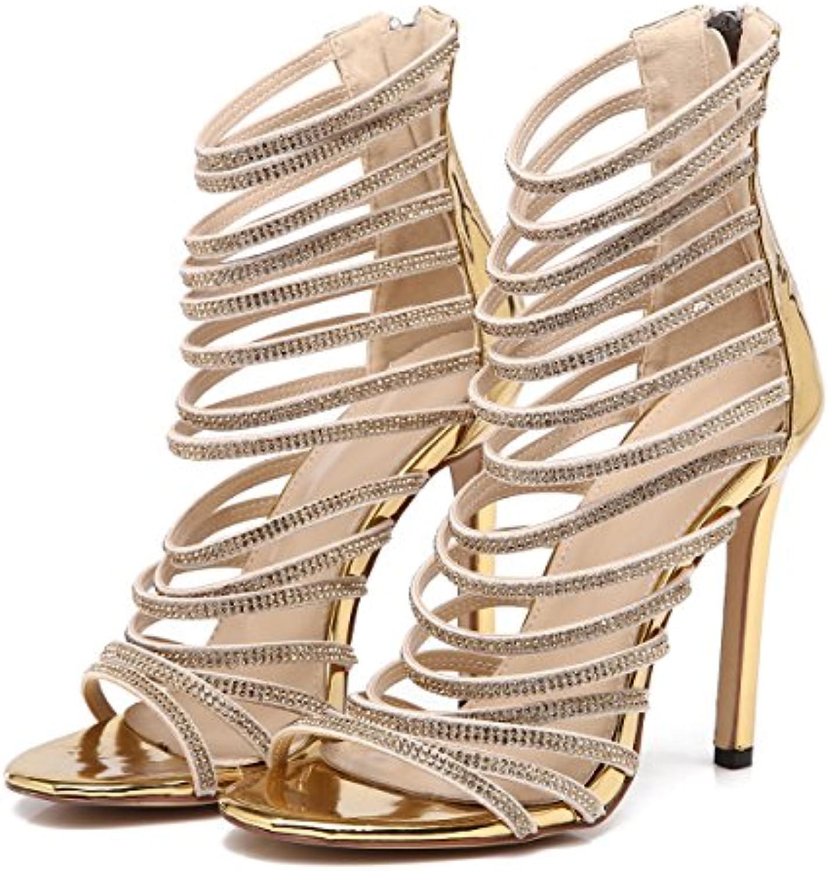 Frauen Strass Nachtclub Sexy Sandalen Stiletto High Heels Abend Hochzeit Pumps Damen Klassische Rom Spitz Schuhe