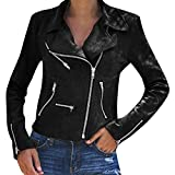DEELIN Femmes Dames De Mode Rétro Rivet Zipper Up Bomber Veste Blouson Casual Slim Fit Manteau Outwear