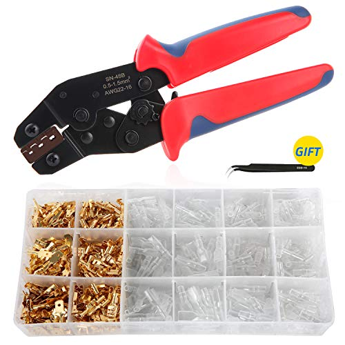 Crimpzange Flachsteckhülsen Set, Aweohtle Crimpwerkzeug Kabelschuhzange mit 300 Stück Kabelstecker 0,5-1,5mm² (AWG 22-16) - Batterie Terminal Crimper