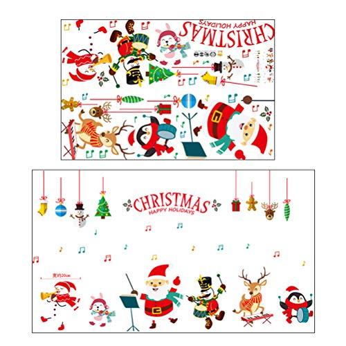 Vosarea Weihnachten Wandaufkleber mit Weihnachtsmann Schneemann Rentier Muster Selbstklebende Abnehmbare DIY DIY Fenster klammert Wand Dekor Decal Urlaub Dekorative