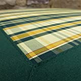 UK-Gardens Green Check Chair Cushion - Indoor or Outdoor Use - 49Wx47Dx5H - Garden Furniture or Dining Chair Cushions