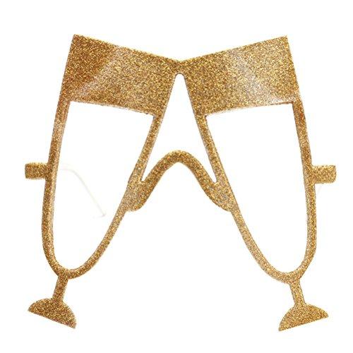 OULII Champagner Gläser Bier Fest Sonnenbrille Lustige Neuheit Oktoberfest Party Bevorzugungen (Gold)