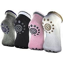 Lenhart 4Coppia Calzini di yoga antiscivolo in silicone a pois cotone invernale per donna, Color B
