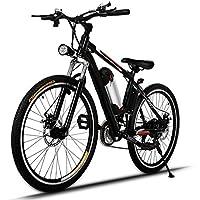 AMDirect E-Bike VTT Electrique Système de Transmission Electrique 21 Vitesses de 26 Pouces avec Lampe de Poche avec Batterie Rechargeable 250W 36V Lithium, Noir