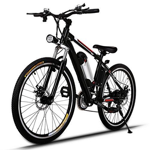 AMDirect Bicicleta de Montaña Eléctrica de 26 Pulgadas E-Bike Sistema de Transmisión de 21 Velocidades con Linterna con Batería de Litio Desmontable 250W 36V, Negro