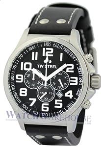 TW Steel Pilot - Reloj de cuarzo para mujer, con correa de cuero, color negro de TW Steel