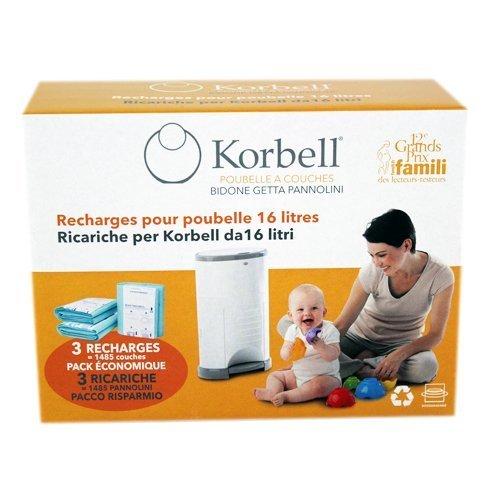 Korbell Recharges pour la poubelle à couches Korbell Standard 16L/15L...